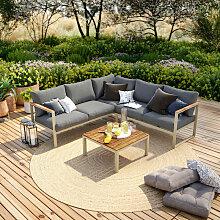Salon de jardin design aluminium - Gris - 5 places