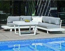 Salon de jardin détente canapé d'angle et