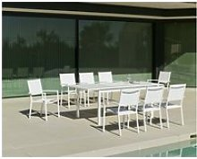 Salon de jardin en aluminium 8 places rimona blanc