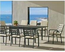 Salon de jardin en aluminium 8 places table