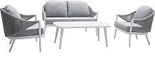 Salon de jardin en aluminium blanc et cordes et