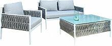 Salon de jardin en aluminium blanc et coussins
