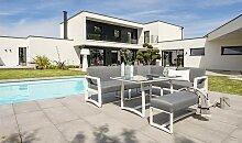 Salon de jardin en aluminium blanc et gris - Belize
