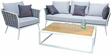 Salon de jardin en aluminium blanc tressage et