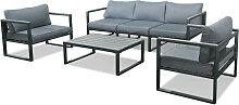 Salon de jardin en aluminium et polywood gris