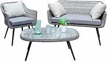 Salon de jardin en aluminium noir et coussins gris