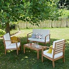 Salon de jardin en bois d'acacia 4 places -