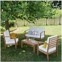 Salon de jardin en bois d'acacia 4 places