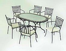 Salon de jardin en métal et mosaique 6 personnes