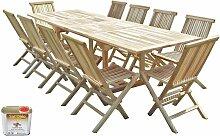 Salon de jardin en teck BATAN 10 chaises - Bundle