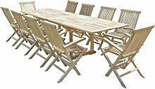 Salon de jardin en teck BATAN 10 fauteuils pliants