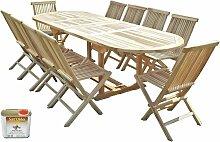 Salon de jardin en teck HENUA 10 chaises - Bundle