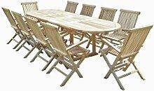 Salon de jardin en teck HENUA 10 fauteuils pliants