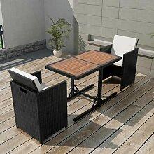 Salon de jardin encastrable 3 pcs avec coussins