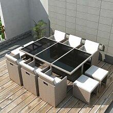 Salon de jardin encastrable avec coussins 11 pcs