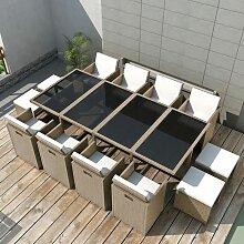 Salon de jardin encastrable avec coussins 13 pcs