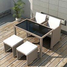 Salon de jardin encastrable avec coussins 5 pcs