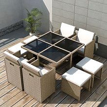 Salon de jardin encastrable avec coussins 9 pcs