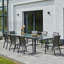 Salon de jardin extensible aluminium 8/12 places -