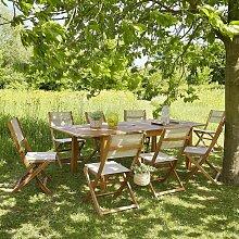 Salon de jardin extensible bois d'acacia 8 à