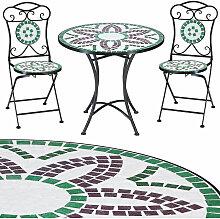 Salon de jardin FLORALIS mosaique - 1 table et 2