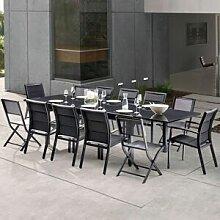 Salon de jardin Full verre noir 12 personnes