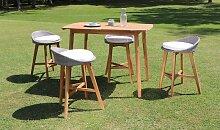 Salon de jardin haut 4 chaises en acacia -