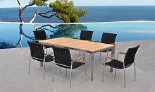 Salon de jardin haut de gamme teck table + 6