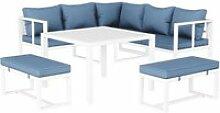 Salon de jardin lasvegas 8 places en aluminum bleu