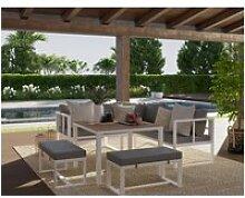Salon de jardin lasvegas 8 places en aluminum gris