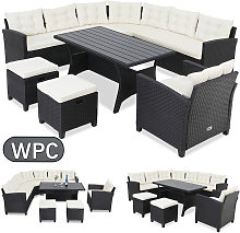 Salon de jardin lounge en polyrotin 9 personnes