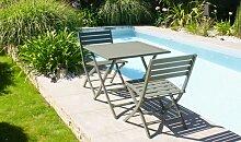Salon de jardin pliant 2 places en aluminium -
