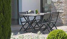 Salon de jardin pliant 4 places en aluminium -