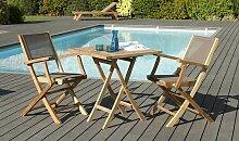 Salon de jardin pliant en bois de teck 2 places -