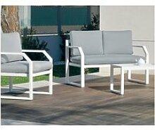 Salon de jardin sofa genova-7 finition blanc