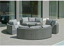 Salon de jardin Sofa NAROHA-8 Finition GRIS Tissus