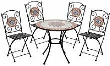 Salon de jardin table mosaïque avec 4 chaises