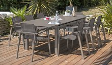 Salon de jardin taupe table extensible + 8