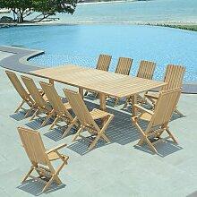 Salon de jardin teck Ecograde Cancun, 10 places -