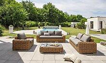 Salon jardin bas résine tressée ronde marron -