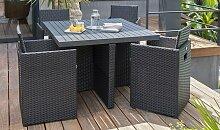 Salon jardin encastrable noir résine et alu 4