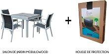 Salon jardin extensible 4 fauteuils décors bois -