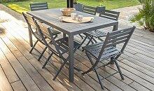 Salon jardin table Miami et 6 chaises pliantes