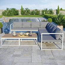 Salon modulable relevable de jardin en aluminium