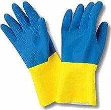 Sanyc Gant de Caoutchouc, Latex, Bleu/Jaune,