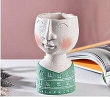 Sculpture Pot de fleurs Art Portrait Vase résine