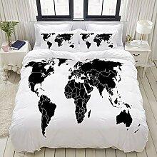 SDBUYW-ZQ Parure de lit,Carte du Monde Noir avec