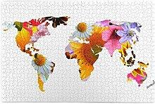 SDBUYW-ZQ Puzzles 1000 pièces,Carte du Monde des