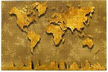SDBUYW-ZQ Puzzles 1000 pièces,Carte du Monde Or