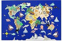 SDBUYW-ZQ Puzzles 1000 pièces,Carte du Monde Plat